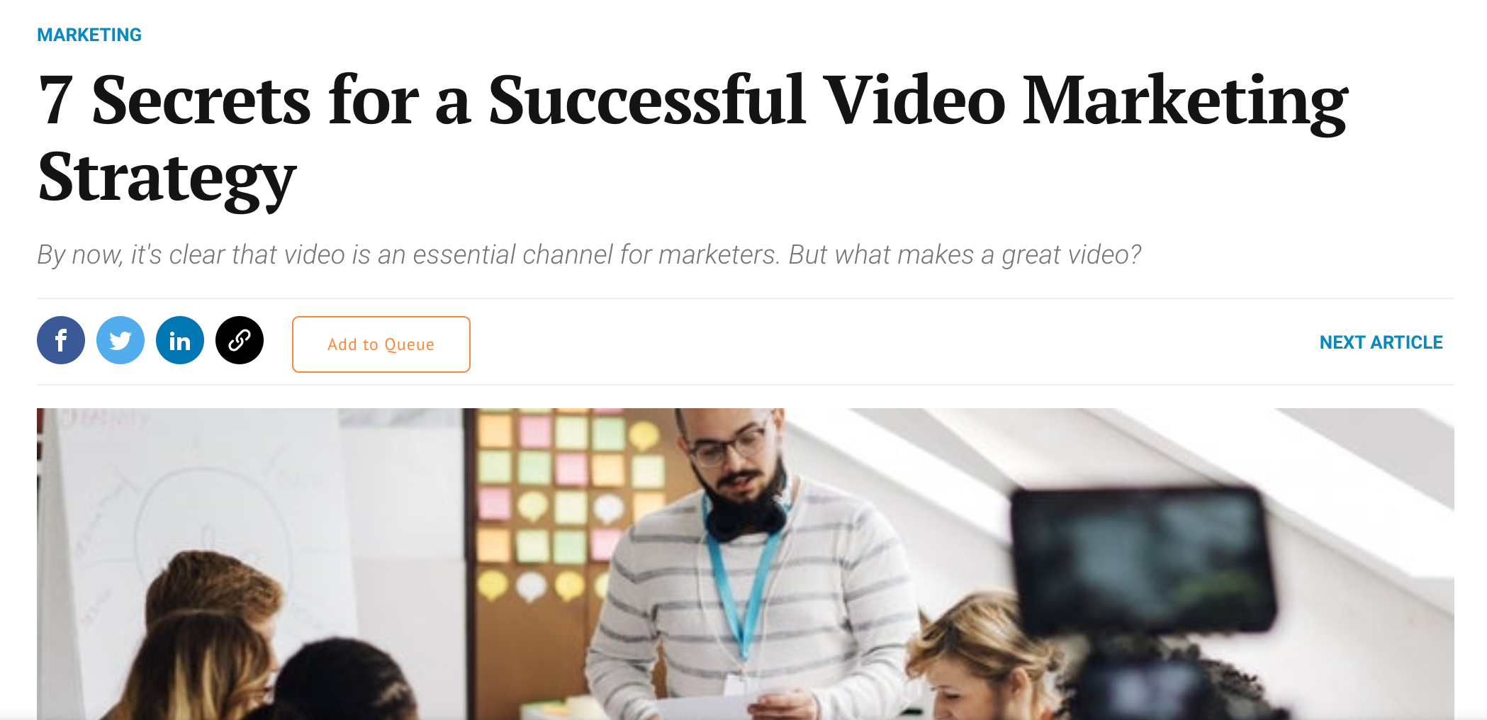 Article about video marketing strategy