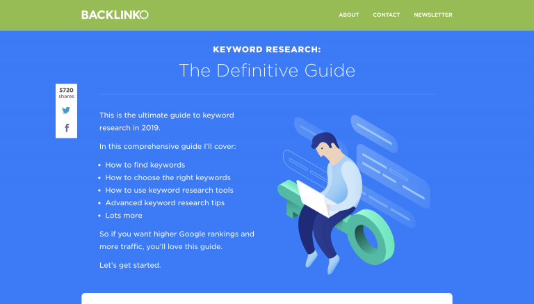 Keyword research article from Backlinko