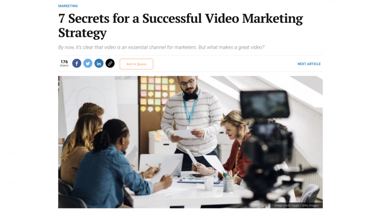 Video marketing article from Entrepreneur