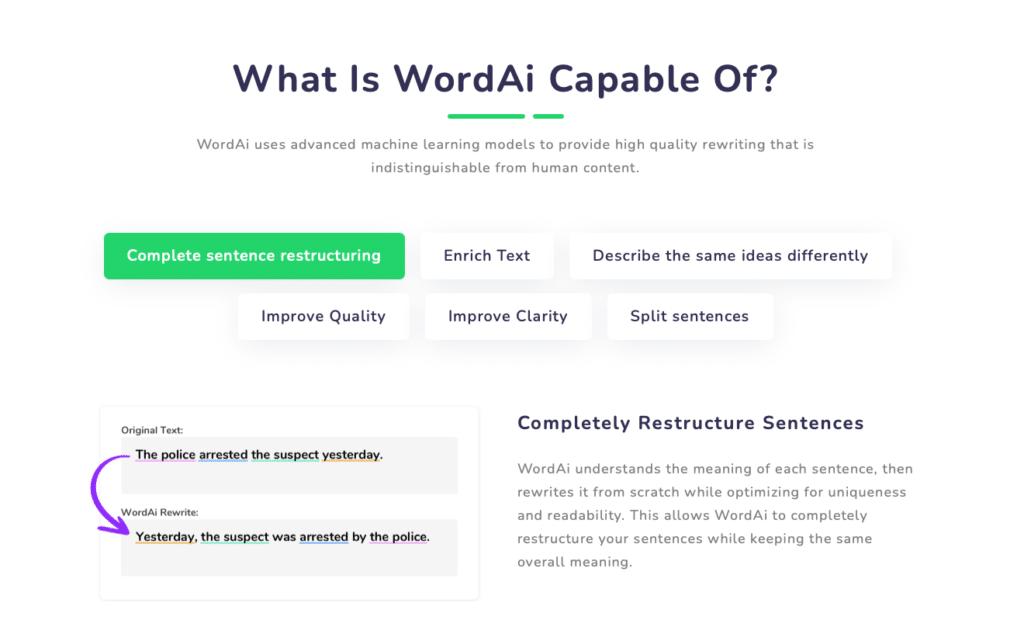 WordAI features