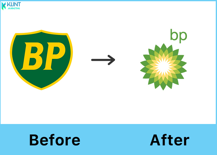 British petroleum rebranding logo before and after