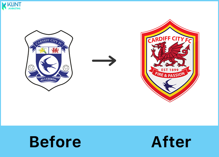 cardiff city fc rebranding before and after