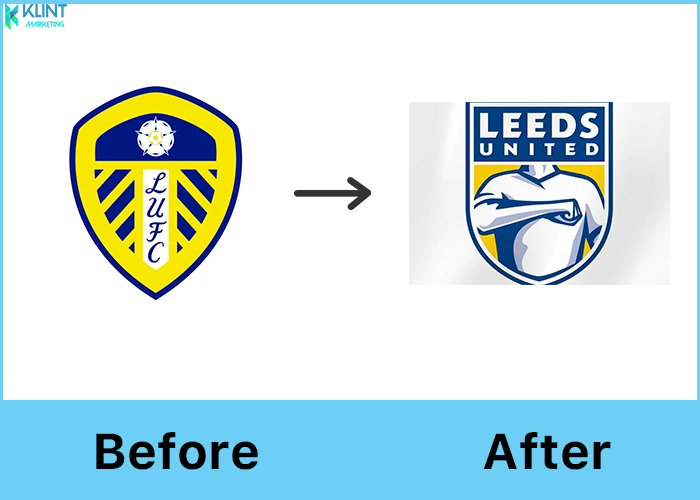 leeds united rebranding before and after