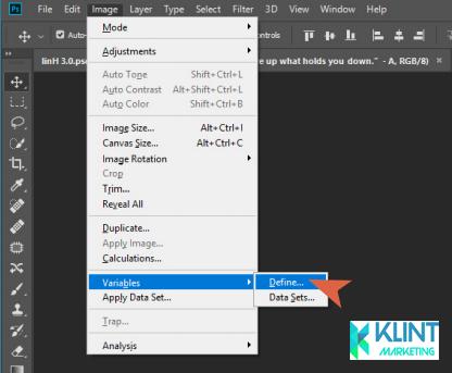 Application Menu choose Image Variables Define