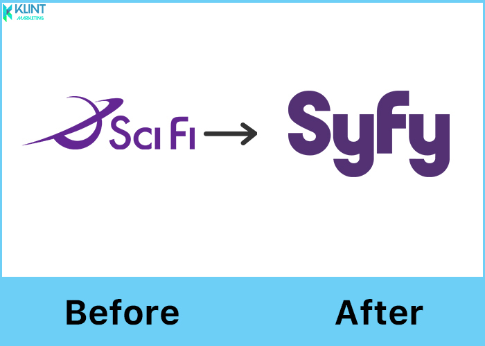 syfy rebranding logo before and after