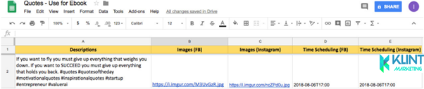 google sheets layput for automated post