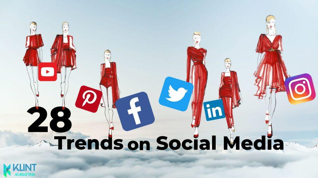 Klint Marketing graphic for 28 trends on social media depicting social media logos