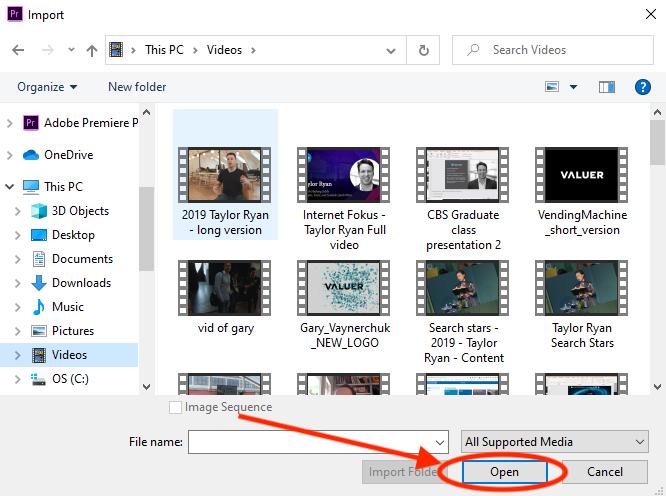 import files in adobe premiere pro