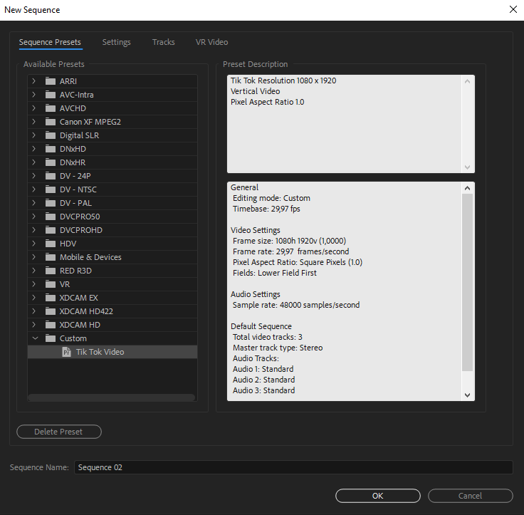 Adobe Premiere Sequence Presets