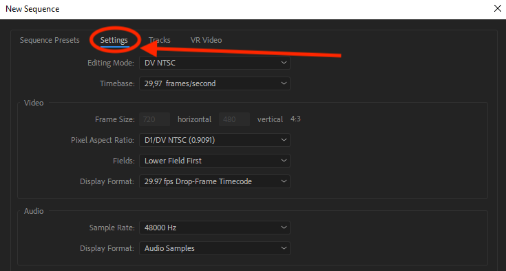 Adobe Premiere Sequence Presets settings