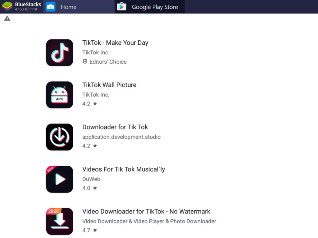 BlueStacks Google Play TikTok