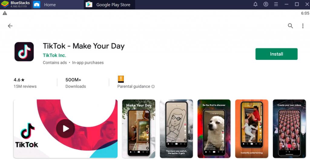 BlueStacks Google Play TikTok install