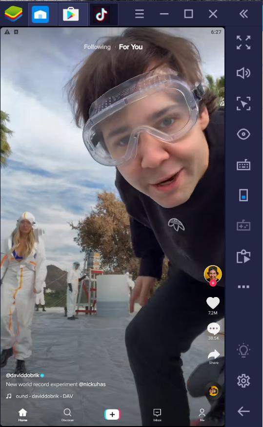 TikTok app with blue stacks