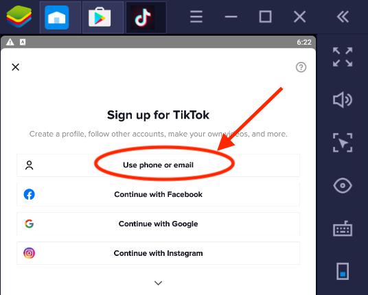 TikTok app sign up