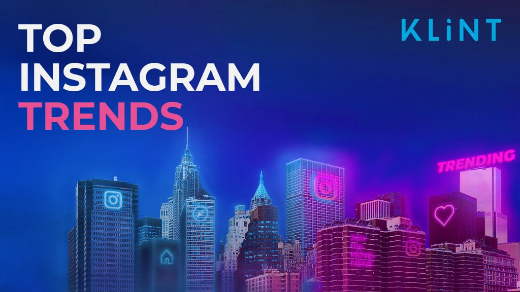 """city skyline lit with pink and blue neon light. Billboards on the buildings display icons from instagram. Text overlaid: """"Top instagram trends"""""""