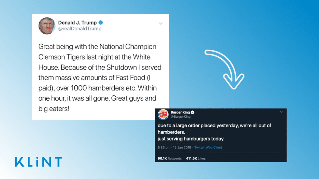 Graphic containing tweets from donald trump and burger king