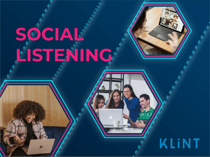"""graphic including 3 stock images of people using their computers. Text overlaid: """"social listening"""""""