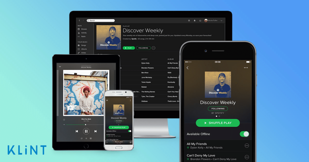 graphic with the screens of spotify featured to display their personalization