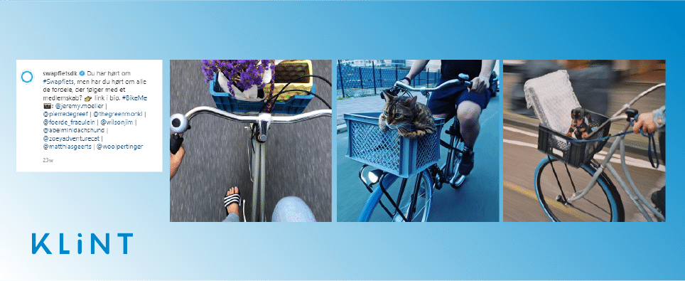 graphic displaying images from the social media account of swapfiets