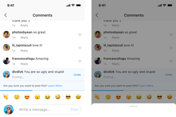 Example of filtering Cyberbullying comment on Instagram