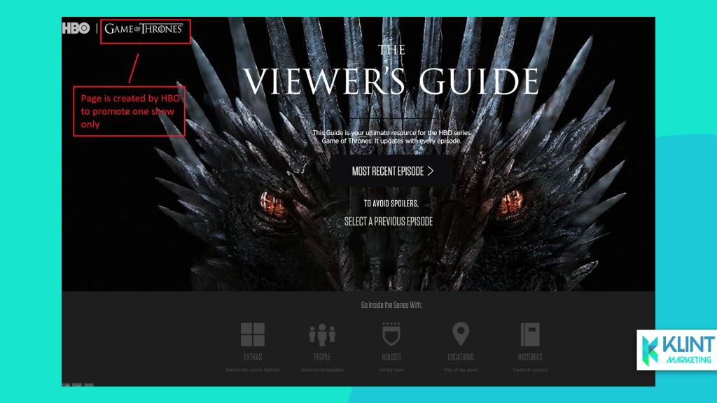 HBO microsite example