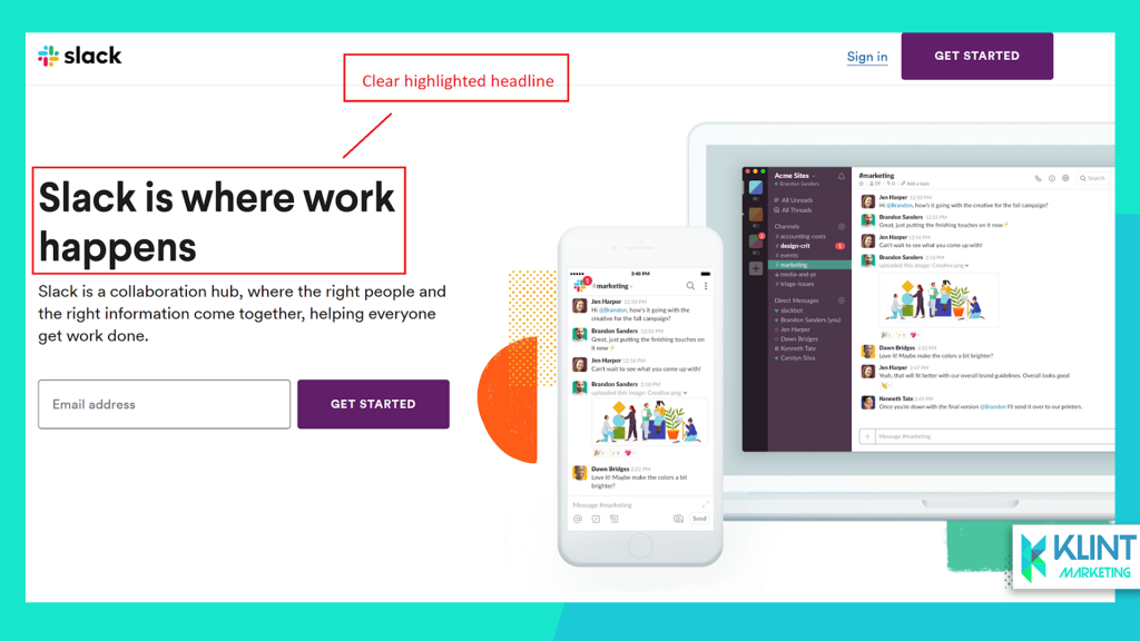 slack landing page as example