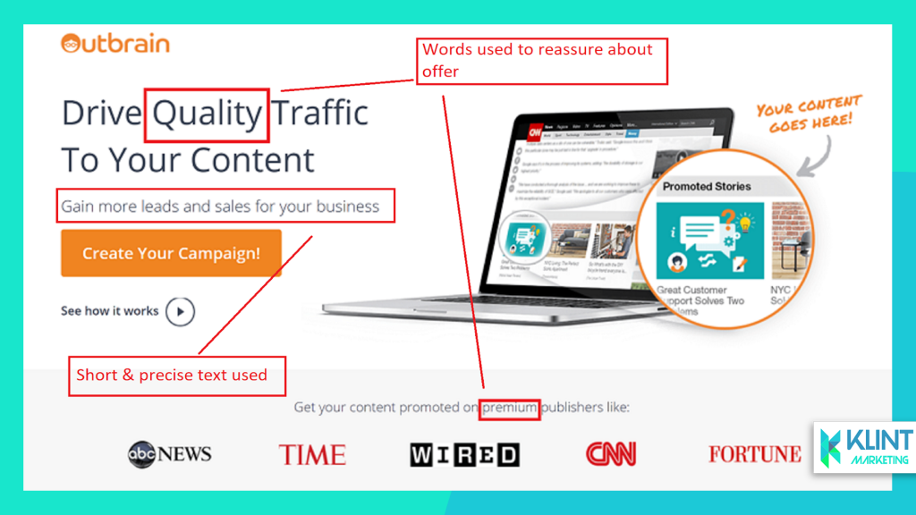 outbrain keep it short landing page example