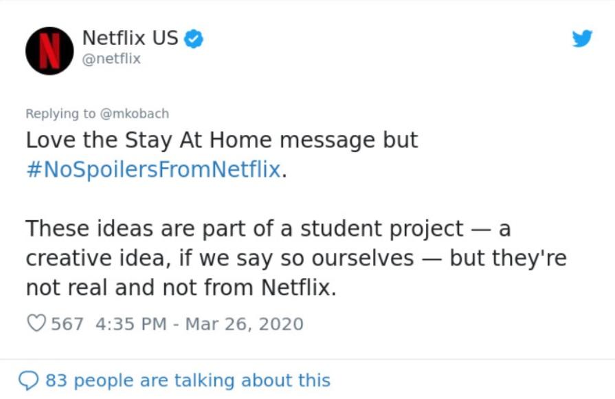Netflix viral COVID-19 campaign tweet
