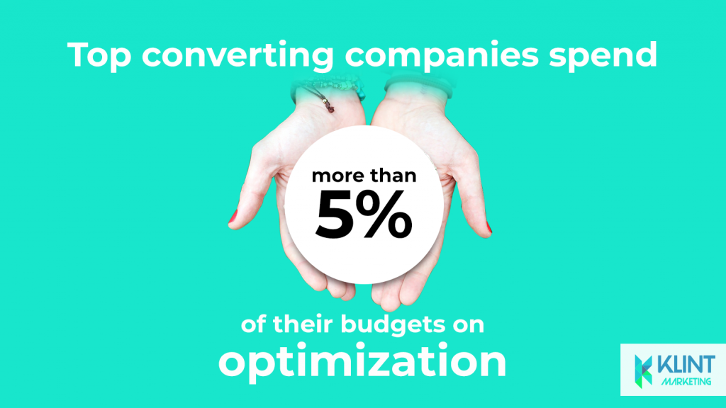 growth hacking statistics show that top companies spend more than 5% of their time on budget optimisation, image by Klint Marketing