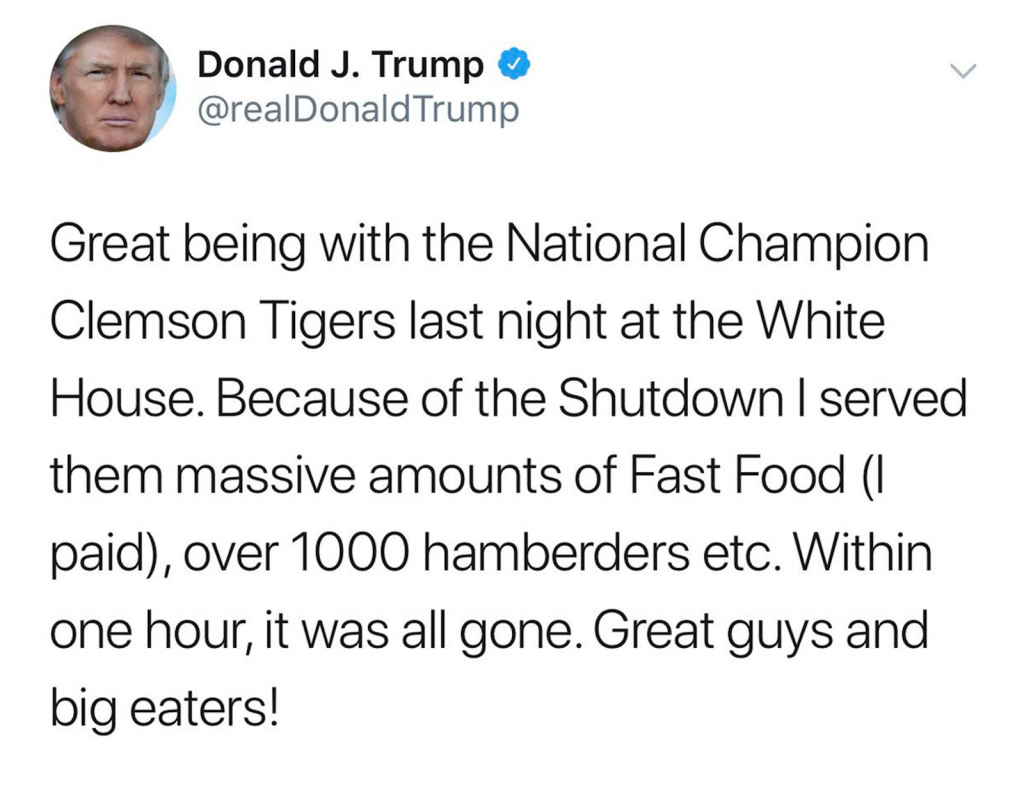 donald trump twitter hamburgers