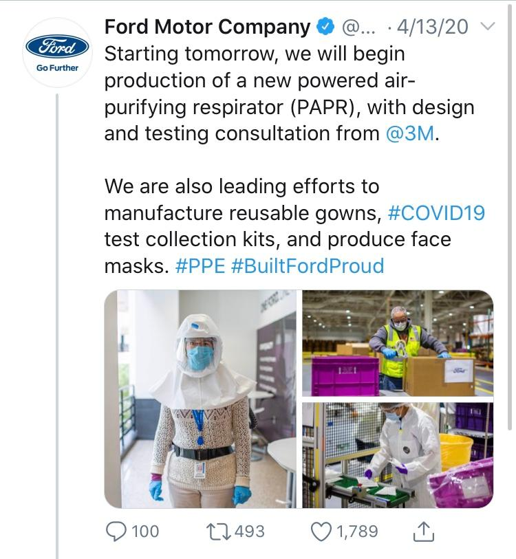 Ford's #BuiltToLendAHand campaign tweet