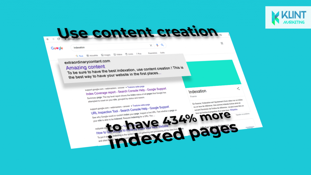 growth hacking statistics shows that use content creation increases indexed pages, image by Klint Marketing