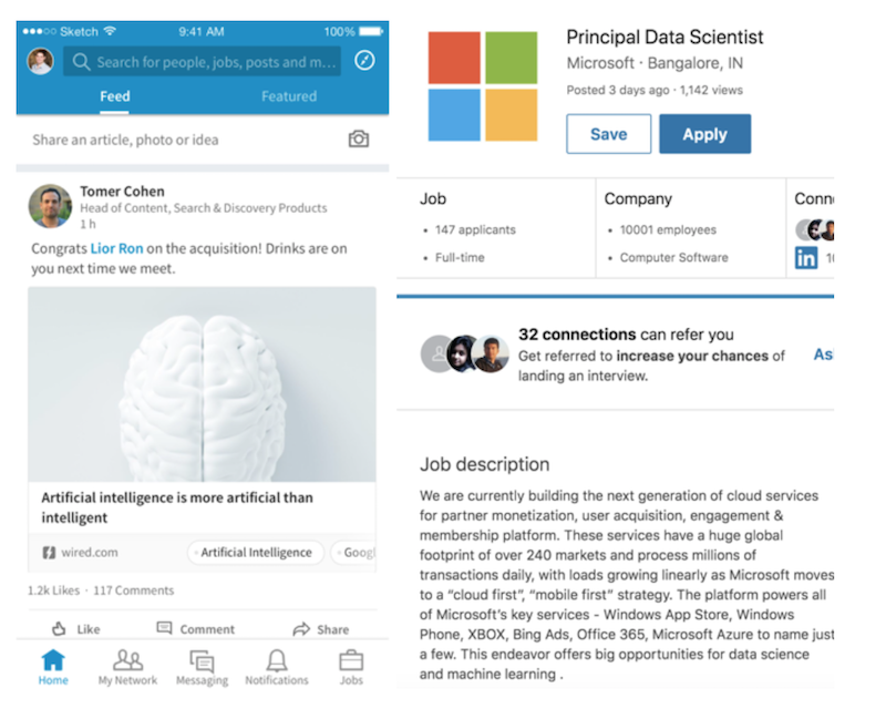 Example of Linkedin