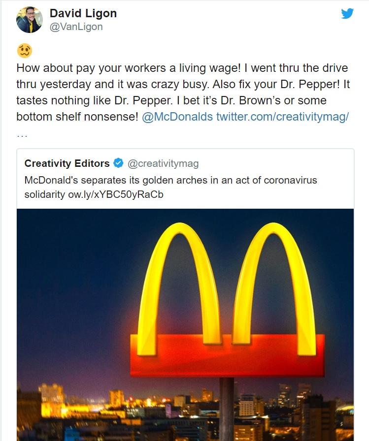 McDonald's #StaySafebyStayingApart campaign tweets