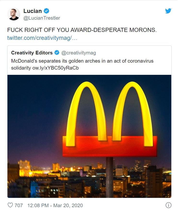 McDonald's #StaySafebyStayingApart campaign tweet