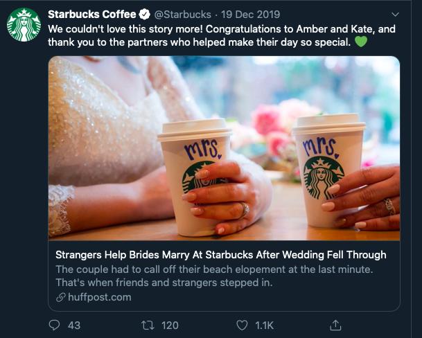 Starbucks personalisation social media