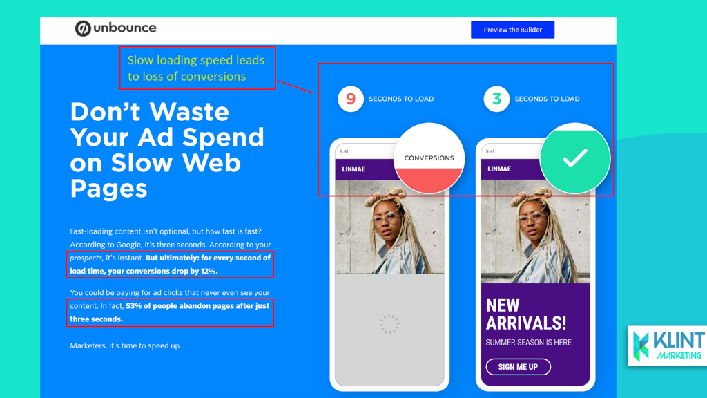 unbounce example of fast landing page