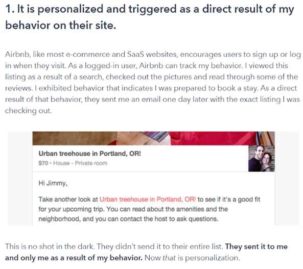 Customer success content creators Case study behavioural email Airbnb Vero