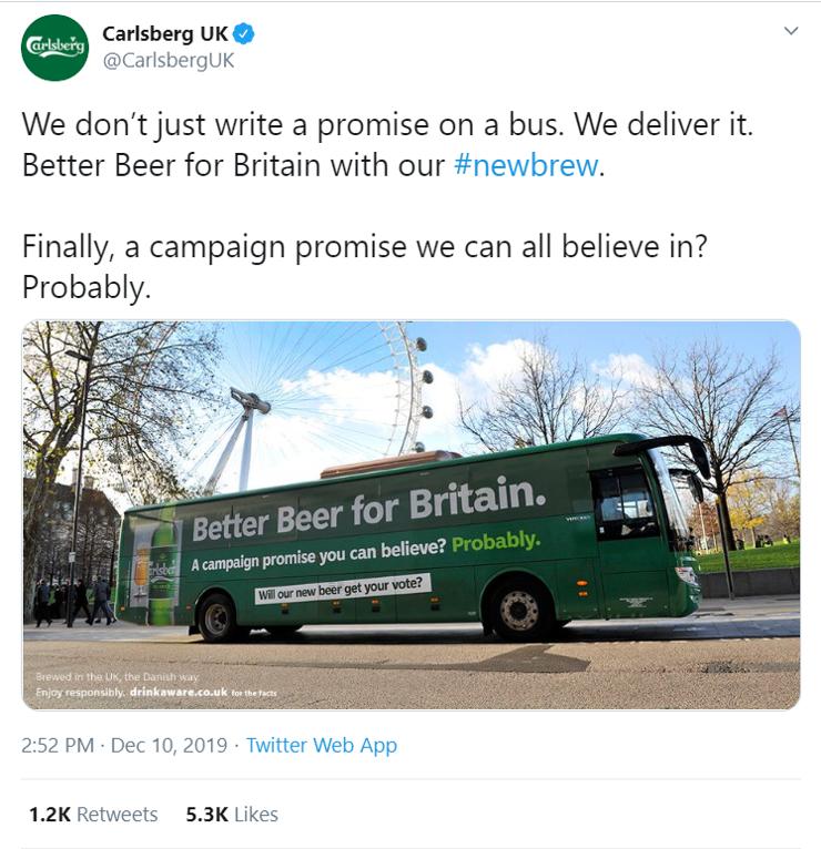 Communication Director content creators Social media post Carlsberg UK tweet advertising campaign on bus