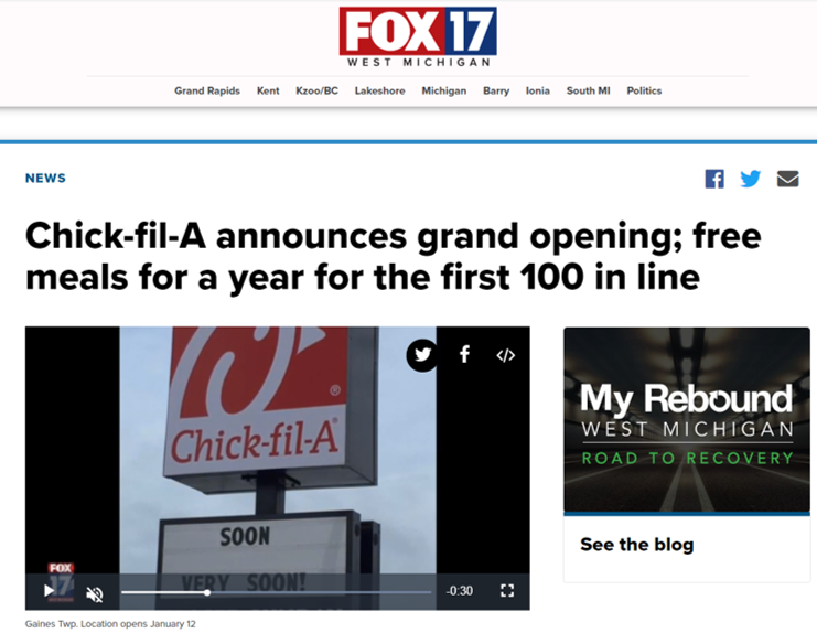Restaurant content press release Fox17 Chick-fil-A grand opening free meals for a year