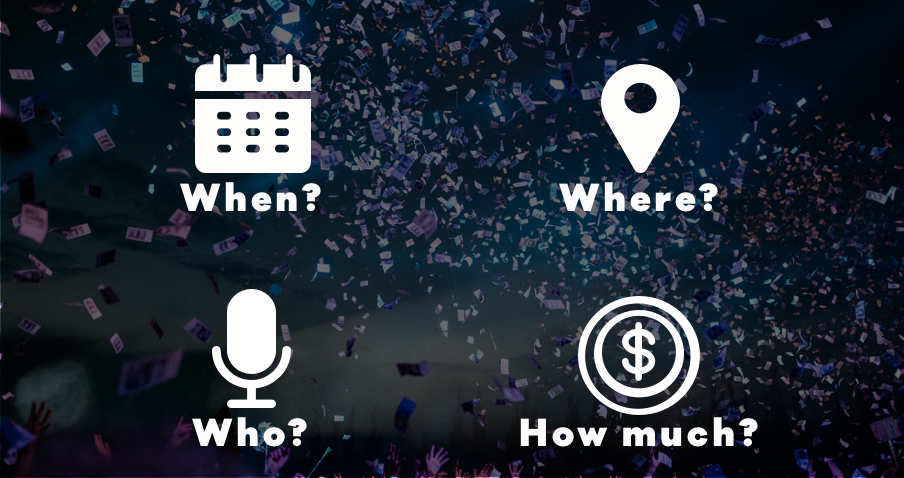 Event promoter create content that promotes event key details - when where who how much