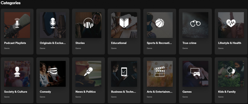 Podcast content Spotify podcast categories