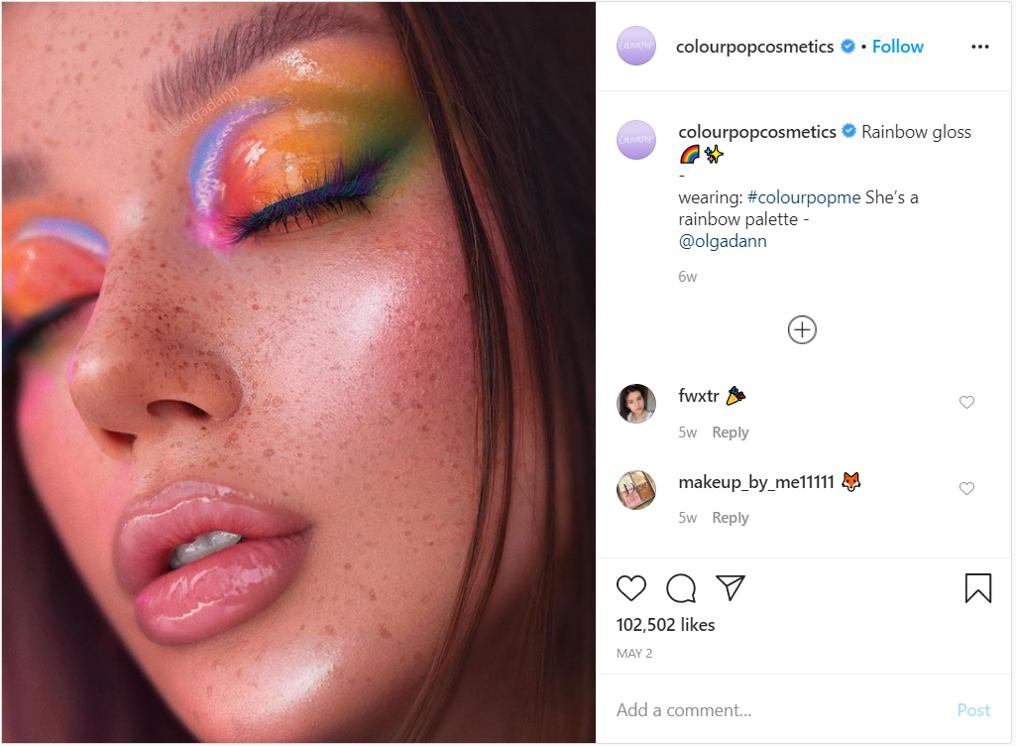 Beauty content creators colourpopcosmetics make up rainbow palette instagram