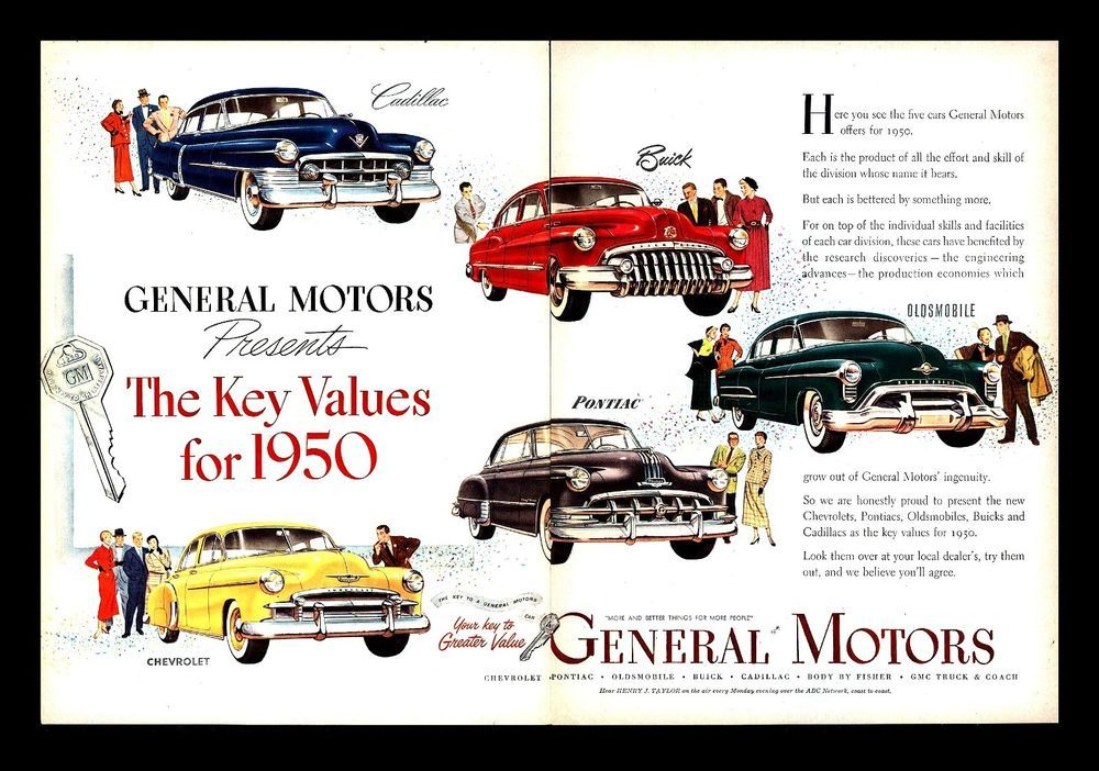 GM Advertisement 1950s. Companies started in a Recession.