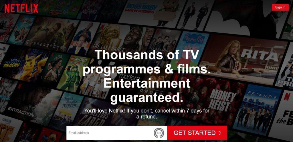 Netflix Landing Page Screenshot