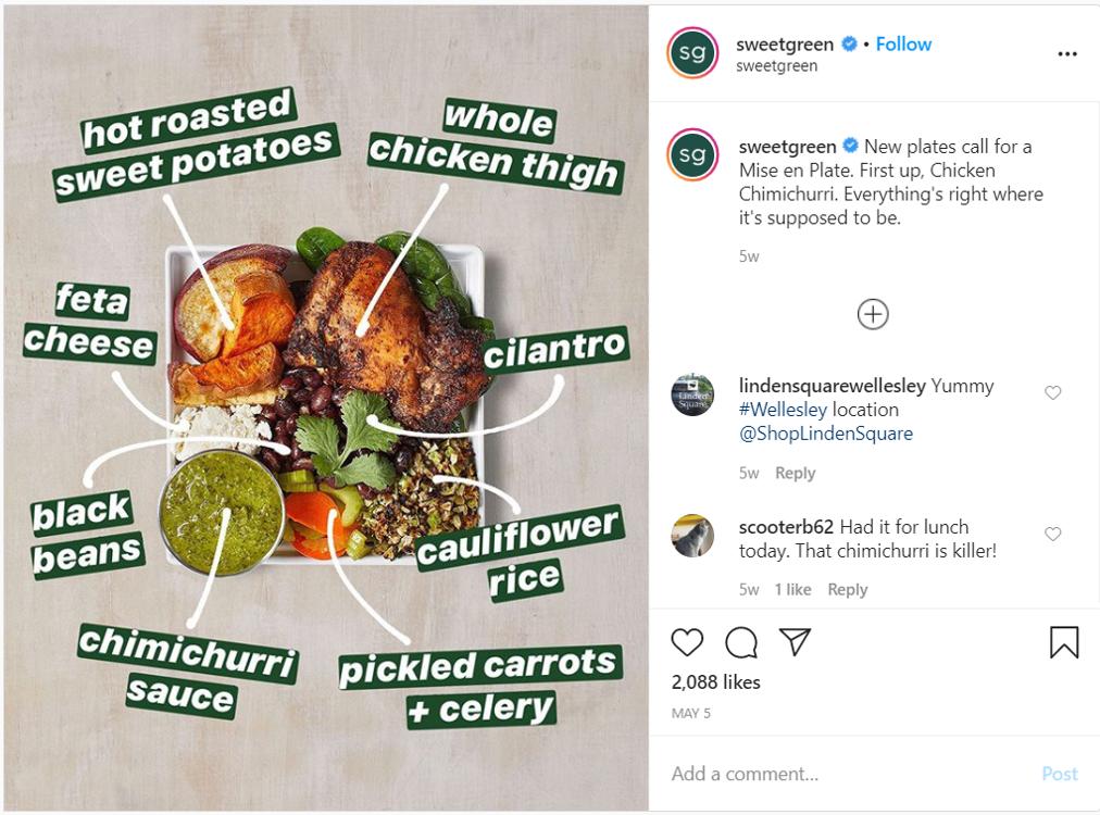 Restaurant content creators social media post sweetgreen chicken chimichurri instagram post hot roasted sweet potato feta cauliflower rice