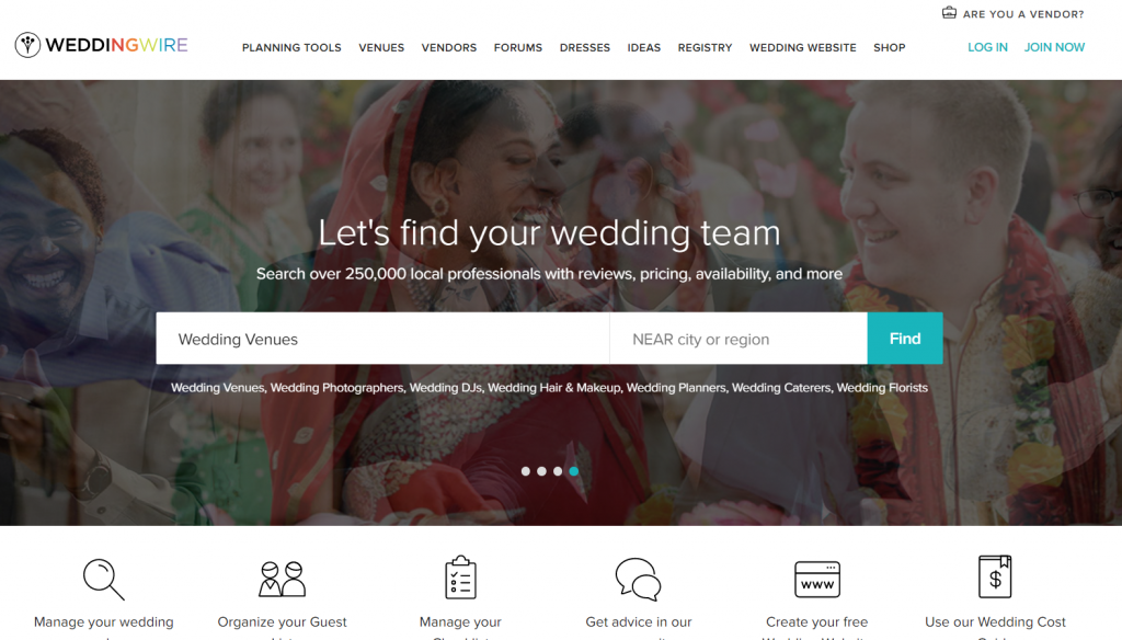 Wedding Wire Landing Page Screenshot