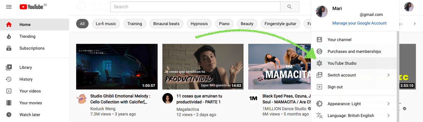 YouTube studio tab