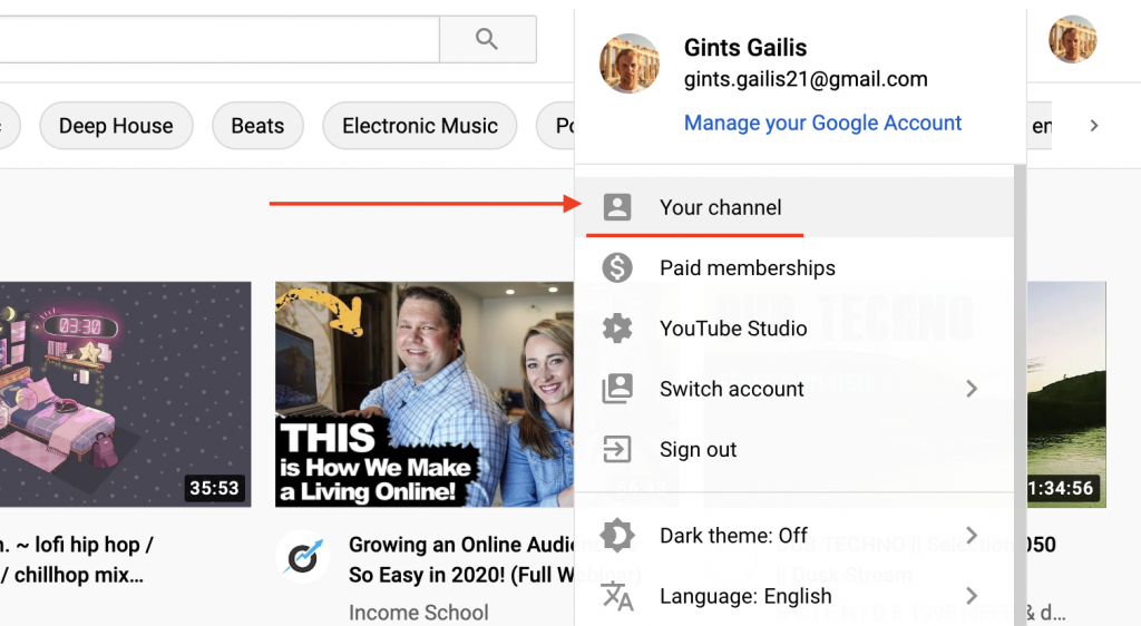 Youtube instruction picture