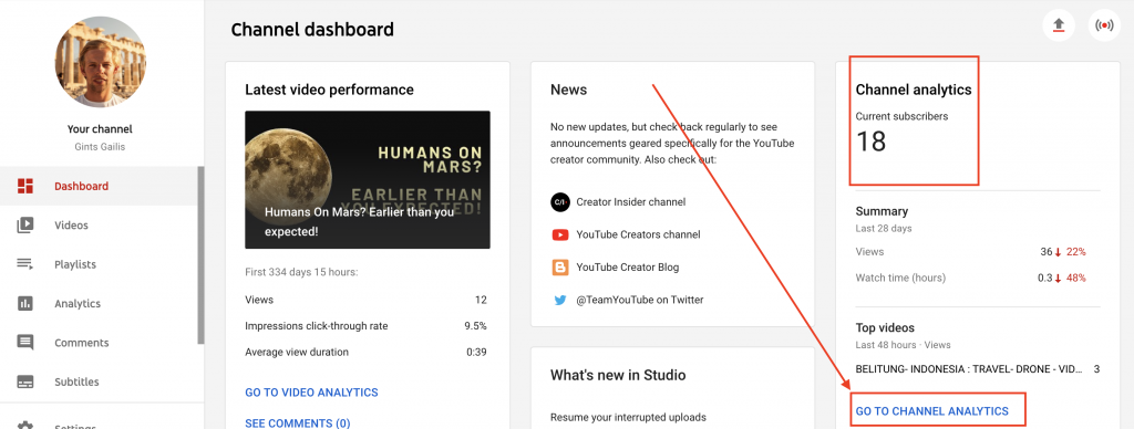 YT Channel dashboard instruction picture